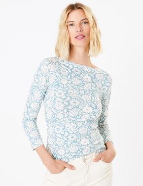 Pamuklu Çiçek Desenli T-shirt