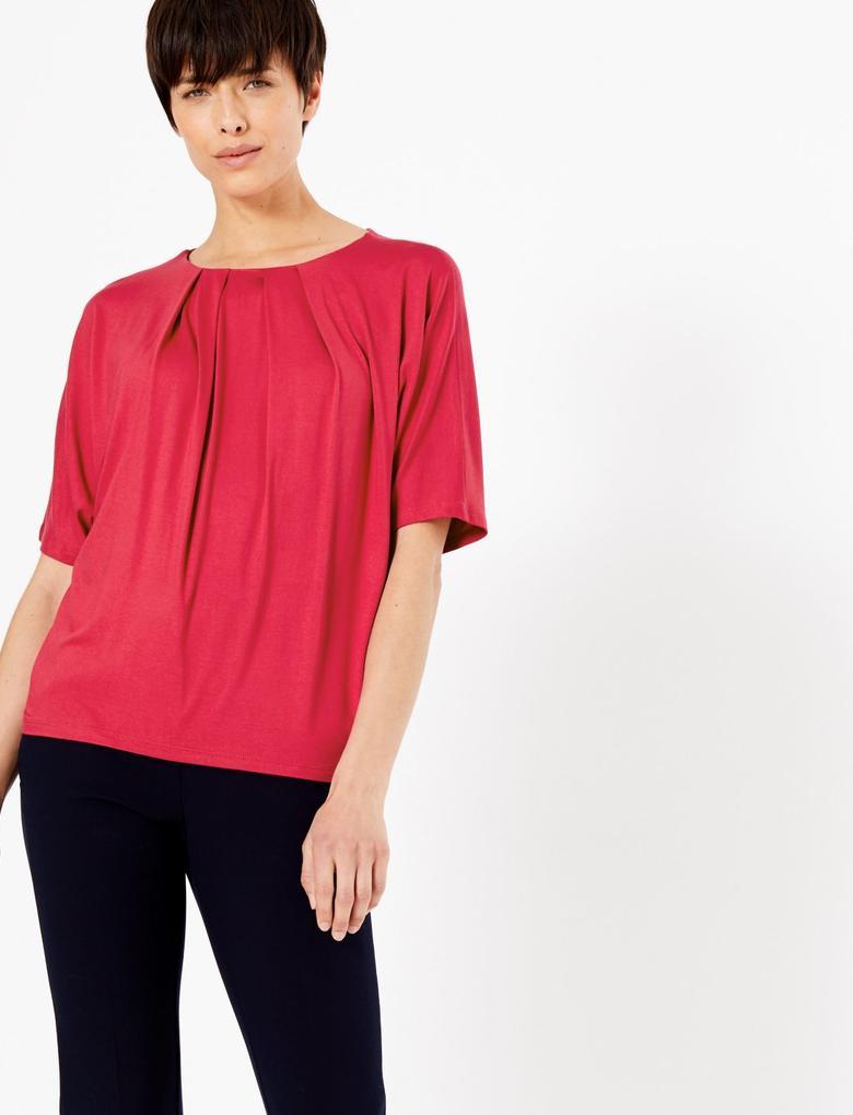 Kırmızı Kısa Kollu Bluz