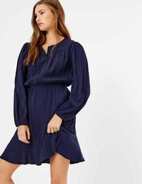 Düğmeli Uzun Kollu Elbise