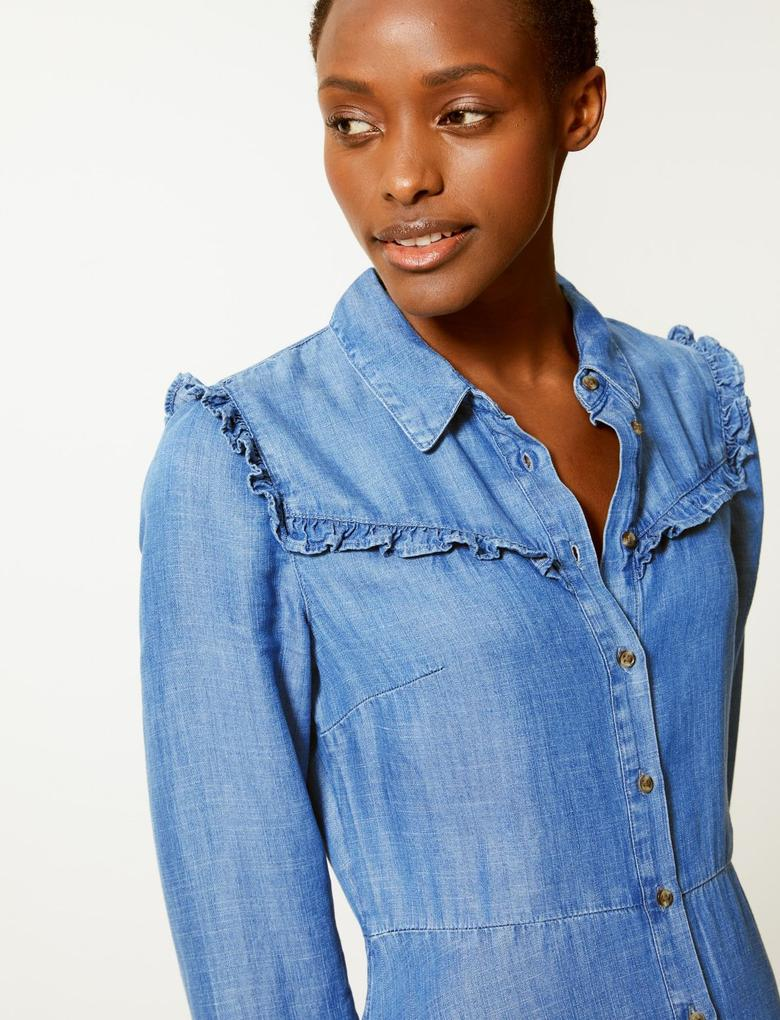 Kadın Mavi Denim Gömlek Elbise