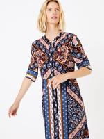 Kadın Multi Renk Şal Desenli Midi Gömlek Elbise