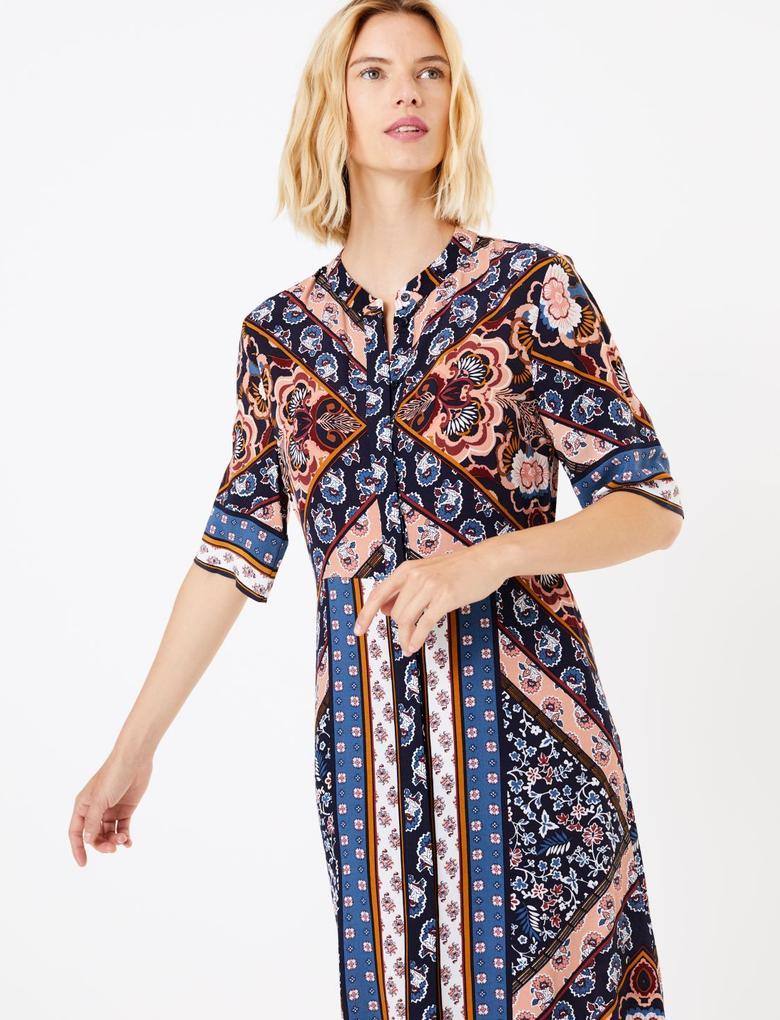 Şal Desenli Midi Gömlek Elbise
