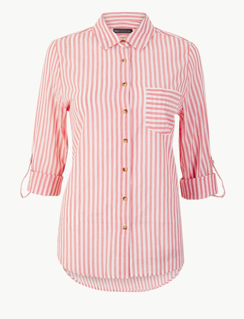 Kadın Kırmızı Saf Pamuklu Çizgili Uzun Kollu Gömlek