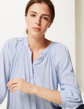 Kadın Mavi Oversized Balon Kollu Bluz