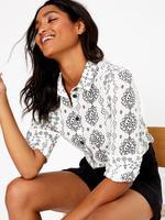 Kadın Krem Saf Pamuklu Desenli Gömlek