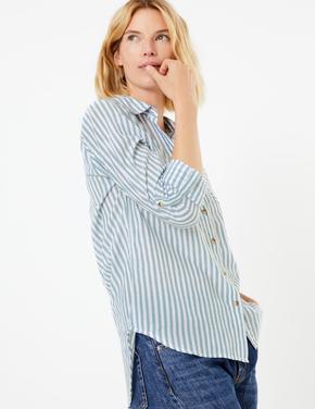 Saf Pamuklu Çizgili Uzun Kollu Gömlek