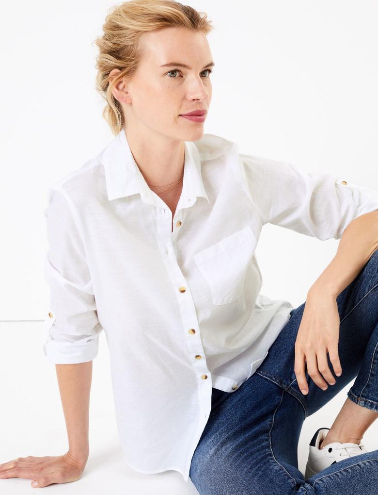 Kadın Beyaz Saf Pamuklu Relaxed Fit Gömlek