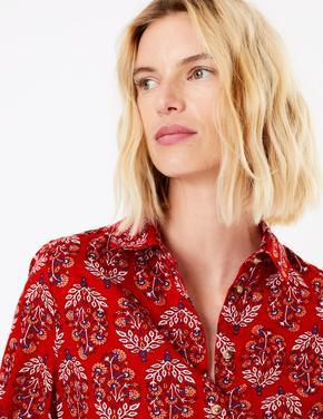 Saf Pamuklu Baskılı Uzun Kollu Gömlek
