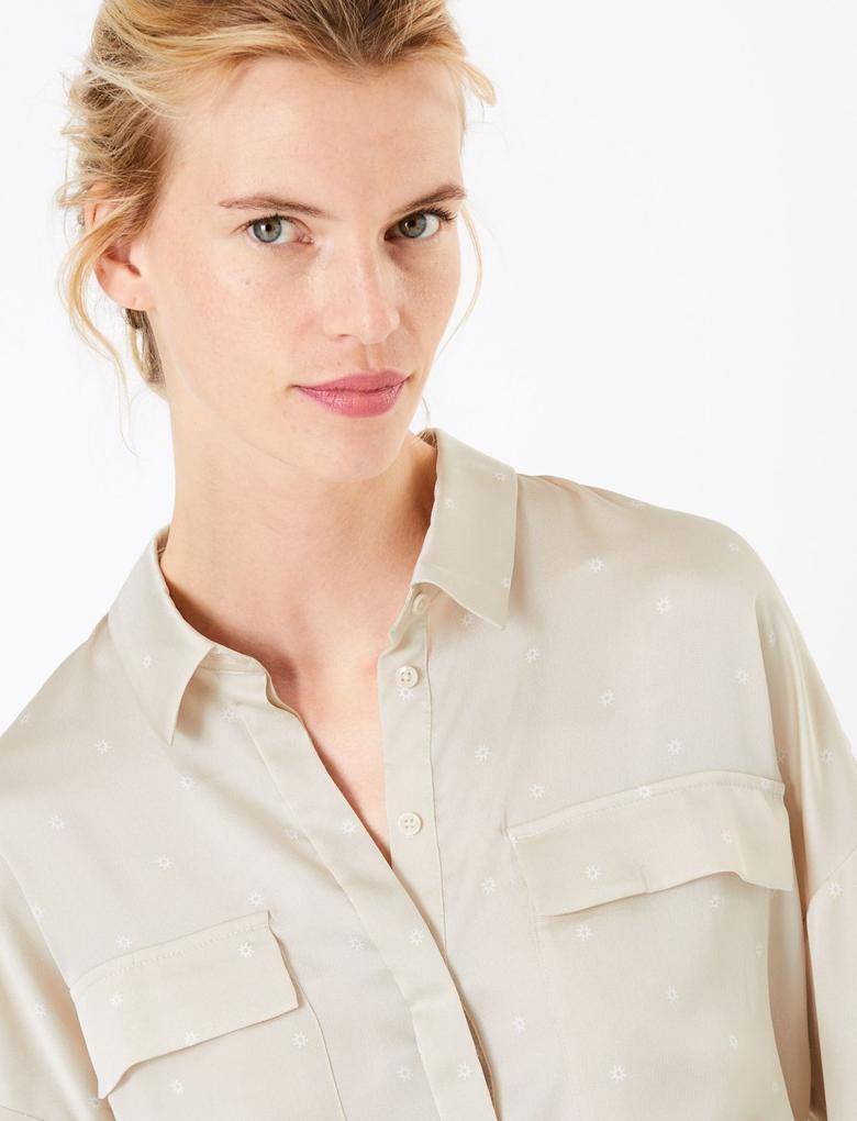 Kadın Multi Renk Bol Kesim 3/4 Kollu Gömlek
