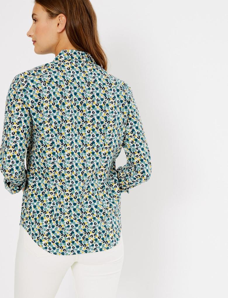 Pamuklu Çiçek Desenli Düğmeli Gömlek
