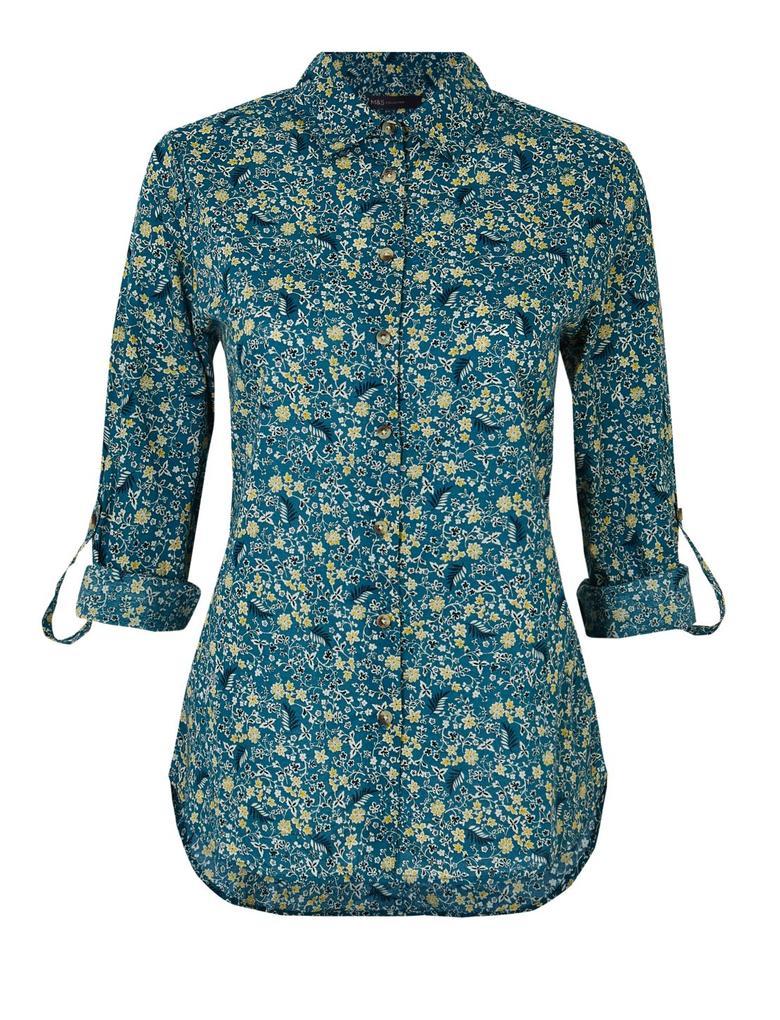 Yeşil Saf Pamuklu Çiçek Desenli Gömlek