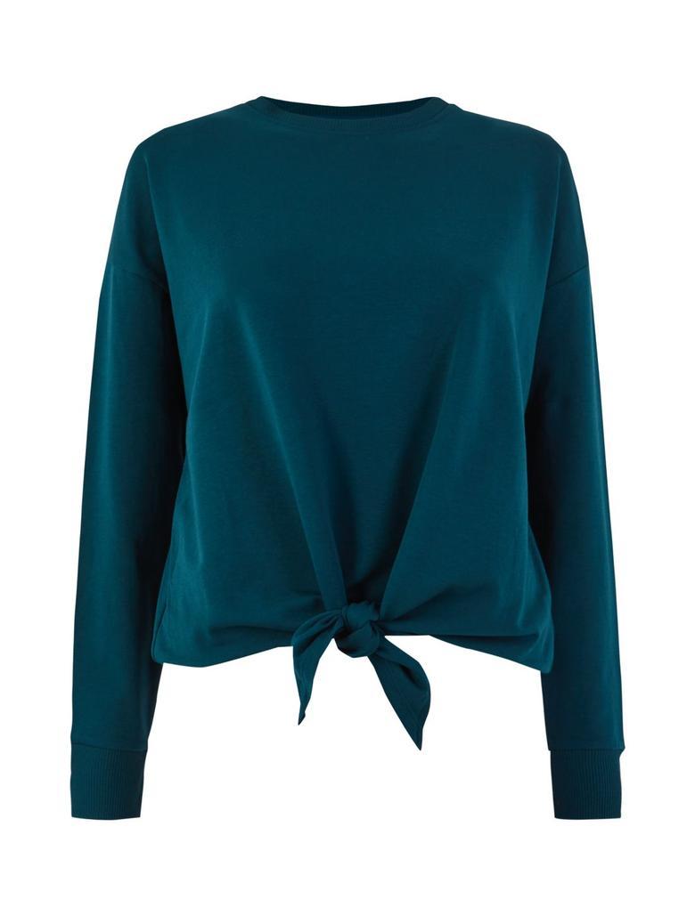 Kadın Lacivert Pamuklu Düğüm Detaylı Sweatshirt