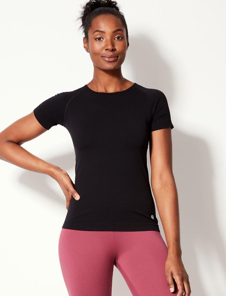 Siyah Hızlı Kuruyan Kısa Kollu T-shirt