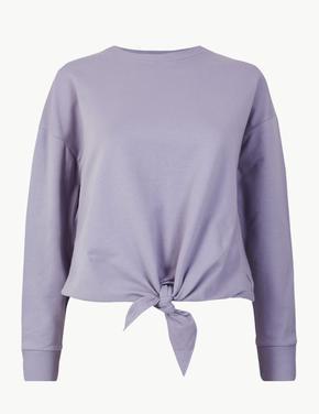 Kadın Mor Pamuklu Düğüm Detaylı Sweatshirt