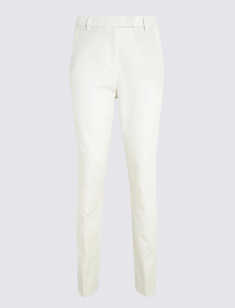 Kadın Beyaz Pamuklu Slim Leg Pantolon