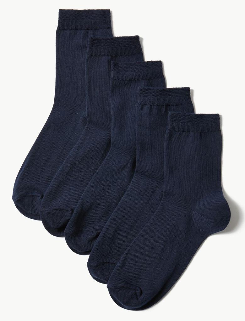 Kadın Lacivert 5'li Pamuklu Çorap Seti
