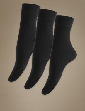 Kadın Siyah 3'lü 40 Denye Opak Soket Çorap Seti