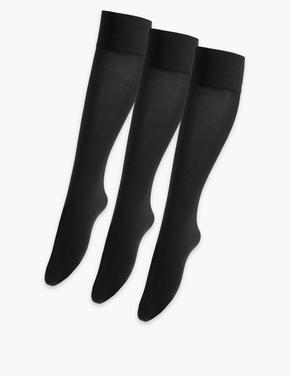 Kadın Siyah 3'lü 40 Denye Opak Diz Altı Çorap Seti