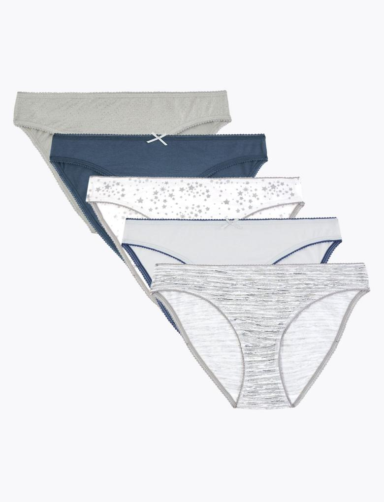 Kadın Mavi 5'li Bikini Külot Seti