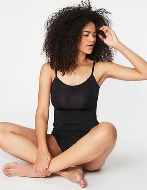 Kadın Siyah Cool Comfort™ İz Bırakmayan Askılı Atlet