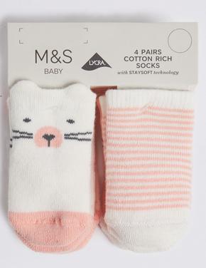 Çocuk Pembe 4'lü Bebek Çorabı Seti