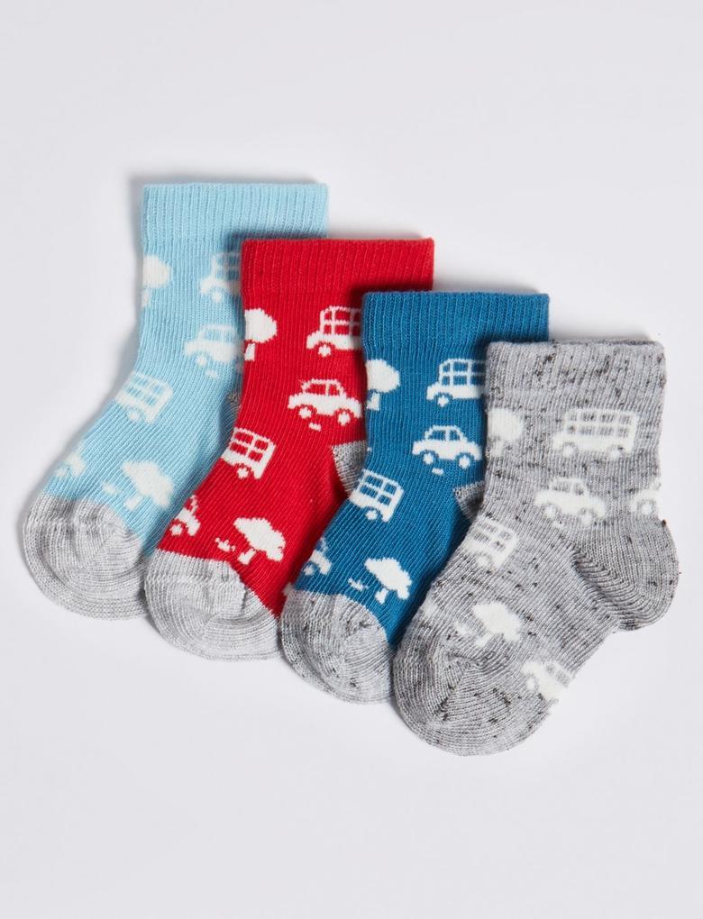 Multi Renk 4'lü Araba Desenli Bebek Çorap Seti