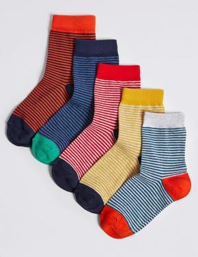 Çocuk Multi Renk 5'li Çizgili Çorap Seti