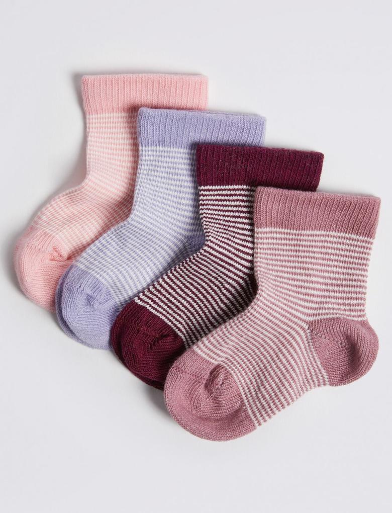 Multi Renk 4'lü Çizgili Bebek Çorap Seti