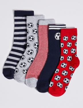 5'li Futbol Desenli Çorap Seti