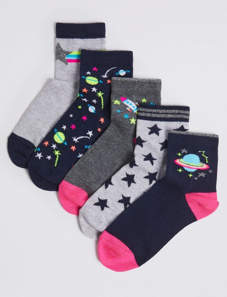 5'li Uzay Desenli Çorap Seti