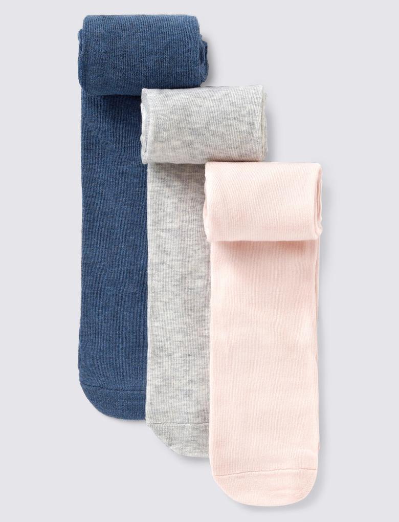 Mavi 3'lü Pamuklu Bebek Külotlu Çorap Seti (0-24 Ay)