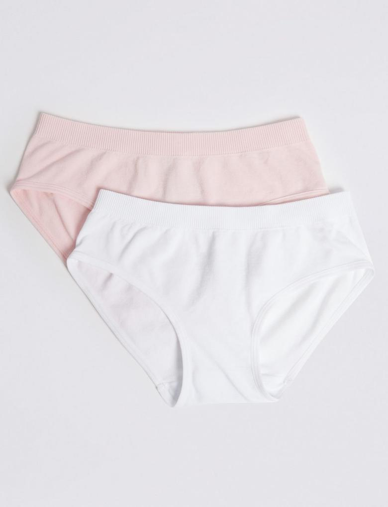Kız Çocuk Pembe 2'li Dikişsiz Bikini Külot Seti