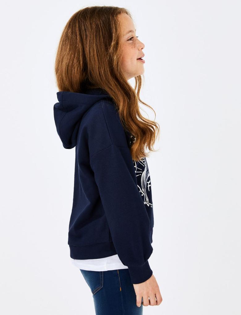 Kız Çocuk Lacivert Unicorn Baskılı Kapüşonlu Sweatshirt