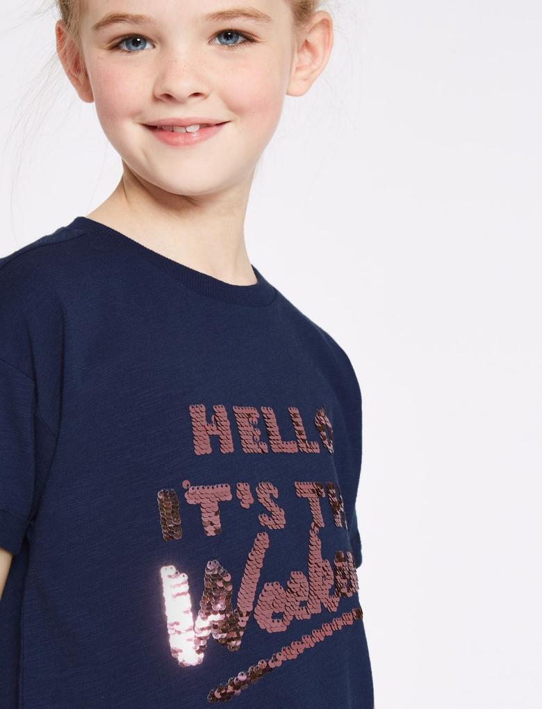 Kız Çocuk Lacivert Saf Pamuklu Pullu T-shirt