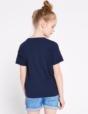 Saf Pamuklu Pullu T-shirt
