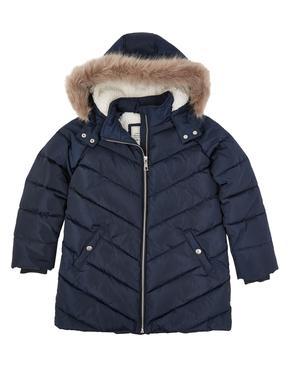 Kız Çocuk Lacivert Stormwear™ Kapüşonlu Dolgulu Mont