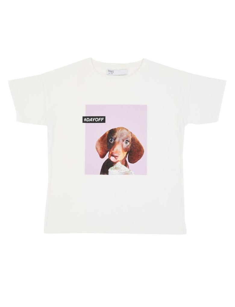 Kız Çocuk Beyaz Saf Pamuklu Baskılı T-shirt