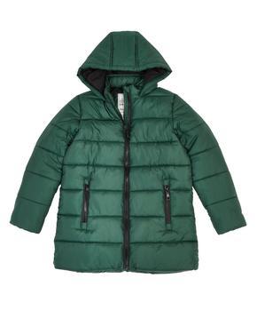 Kız Çocuk Yeşil Kapüşonlu Dolgulu Mont