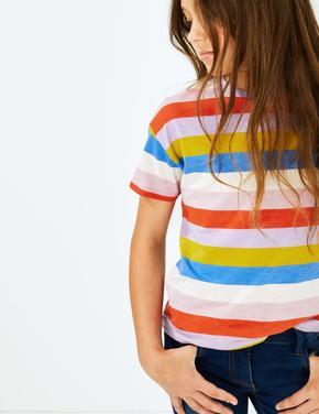 Saf Pamuklu Çizgili T-shirt