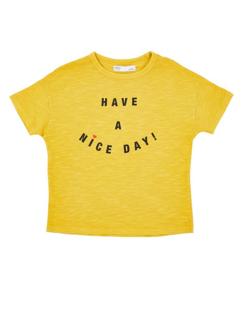 Kız Çocuk Sarı Saf Pamuklu Kısa Kollu T-shirt
