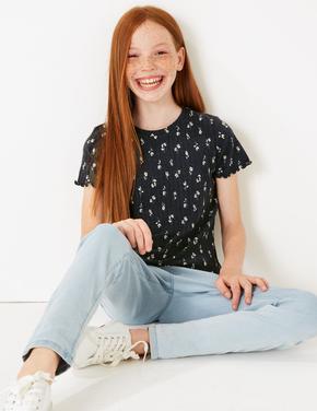 Kız Çocuk Gri Çiçek Desenli T-shirt