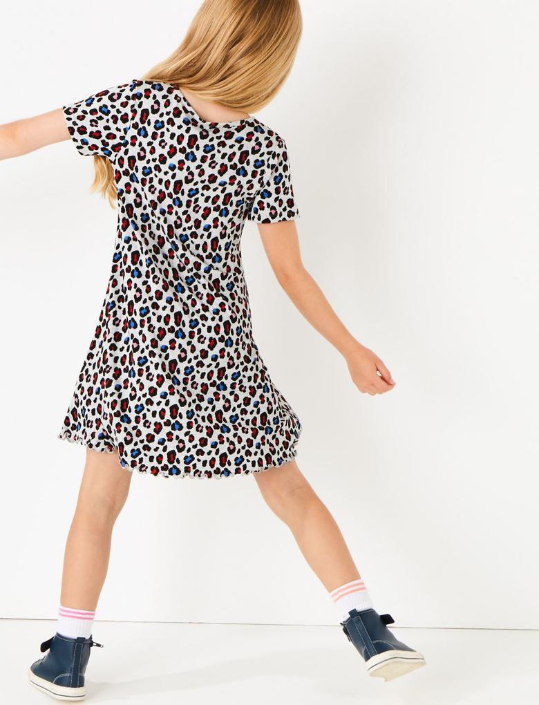 Kız Çocuk Multi Renk Leopar Desenli Elbise