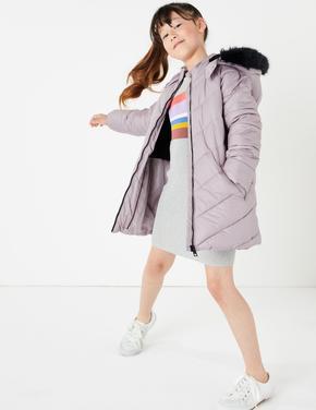 Kız Çocuk Mor Stormwear™ Dolgulu Kapüşonlu Mont