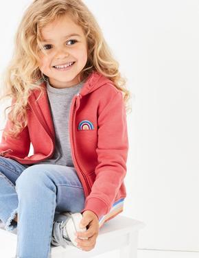Kız Çocuk Kırmızı Gökkuşağı İşlemeli Kapüşonlu Sweatshirt