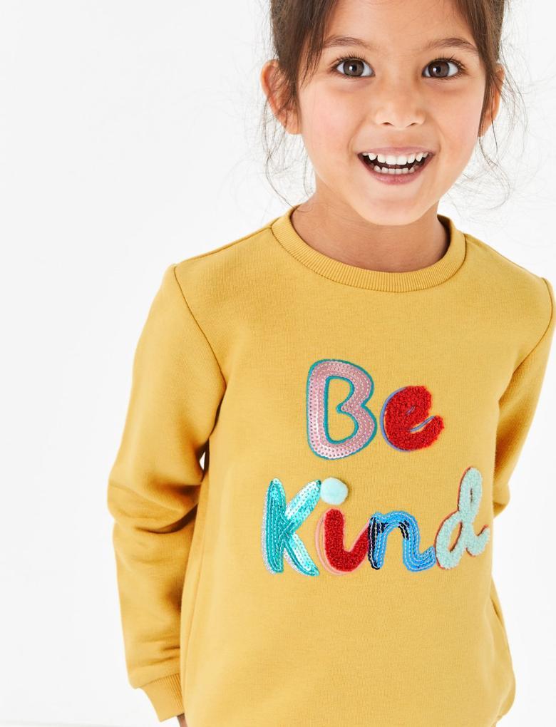 Kız Çocuk Sarı İşlemeli Sweatshirt