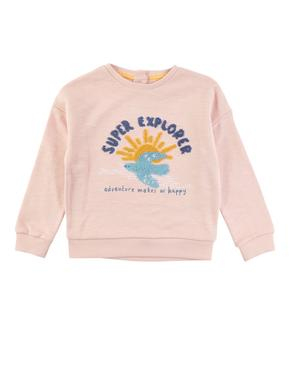 Kız Çocuk Pembe Saf Pamuklu Uzun Kollu Sweatshirt