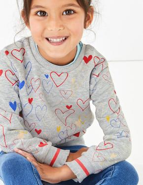 Kalp Baskılı Uzun Kollu Sweatshirt