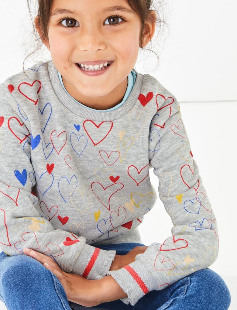 Kız Çocuk Gri Kalp Baskılı Uzun Kollu Sweatshirt