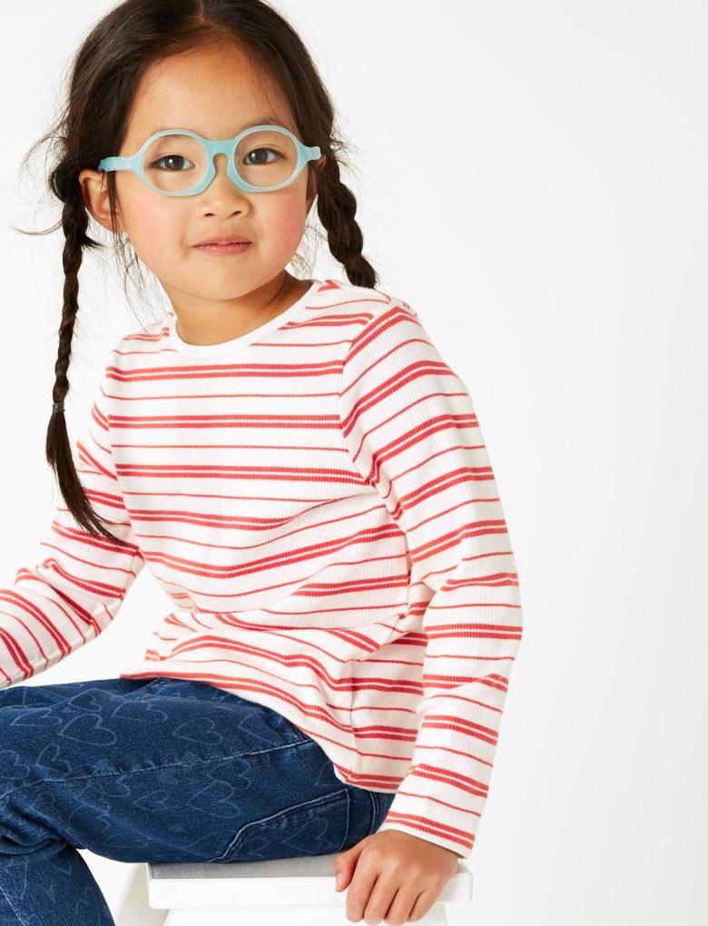 Kız Çocuk Pembe Pamuklu Çizgili T-shirt