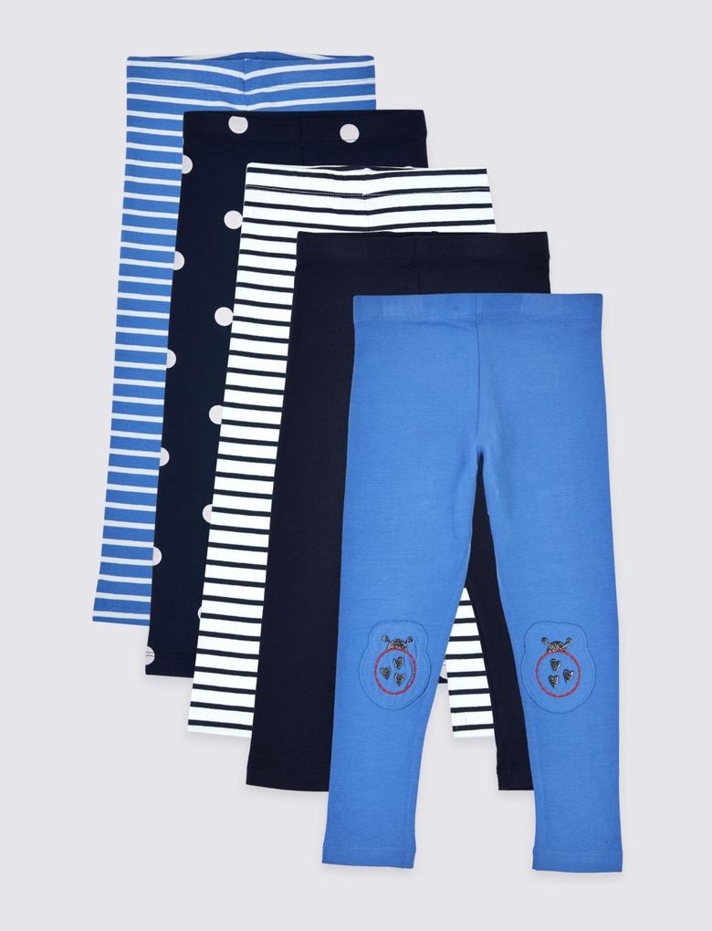 Kız Çocuk Mavi 5'li Jegging Pantolon Seti
